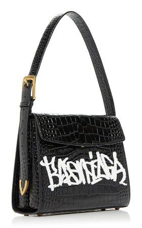 Graffiti Croc-Effect Leather Bag Balenciaga