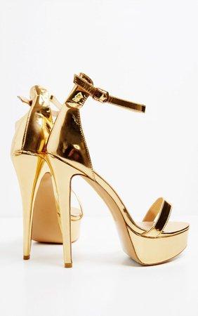 Gold Patent High Platform Heels | Shoes | PrettyLittleThing USA