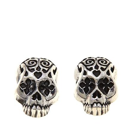 King Baby Jewelry Sterling Silver Day of the Dead Skull Stud Earrings - 8311747 | HSN