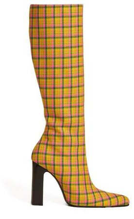 Block Heel Checked Wool Boots - Womens - Yellow Multi