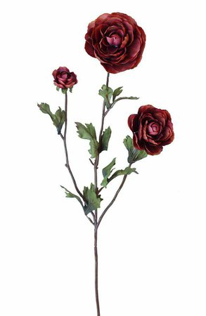 Ranunculus Spray in Burgundy Rust | Fall Silk Flowers | Afloral.com