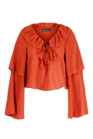 Woven ruffle detail blouse | boohoo