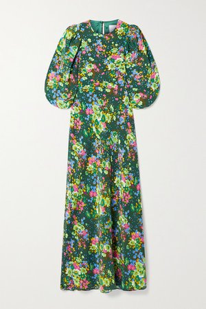 Floral-print Silk Crepe De Chine Midi Dress - Dark green