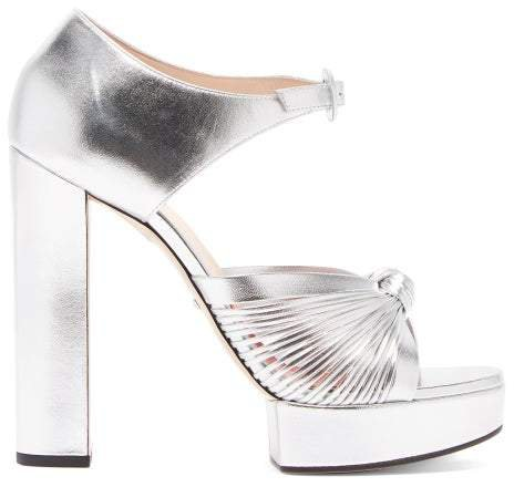 Crawford Knotted Platform Leather Sandals - Womens - Silver