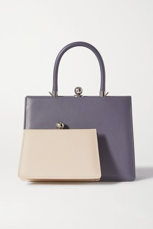 Twin Frame Two-tone Leather Tote - Gray