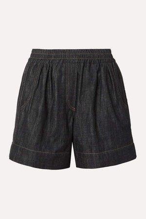 Bead-embellished Denim Shorts - Black