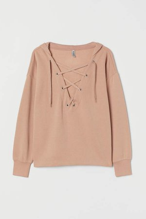 H&M+ Hooded Top with Lacing - Beige