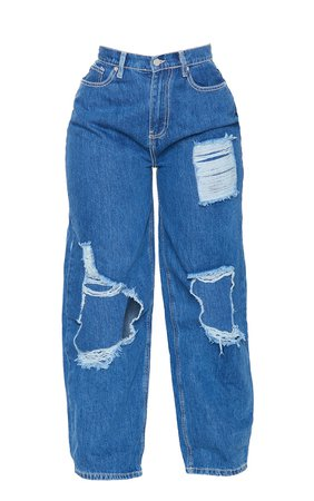 *clipped by @luci-her* Plt Shape Mid Blue Wash High Waist Ripped Jeans   PrettyLittleThing USA