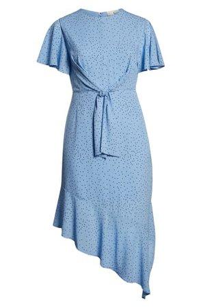 LOST INK Tie Front Asymmetrical Hem Dress (Plus Size) | Nordstrom