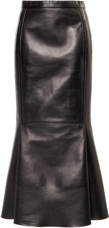 Valentino High-Rise Leather Skirt