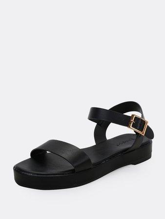 Solid Band Open Toe Buckled Strap Flatform Sandals | SHEIN