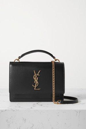 Sunset Leather Shoulder Bag - Black