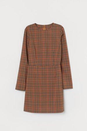 Long-sleeved Dress - Dark beige/plaid - Ladies | H&M US