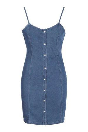 Denim Button Through Sweetheart Mini Dress | boohoo