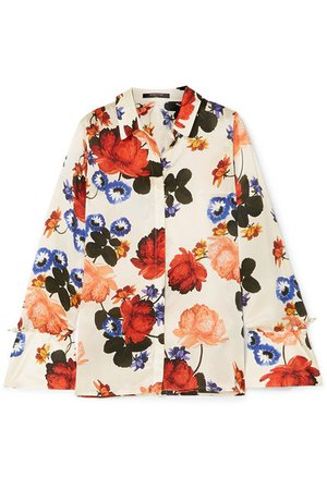 Mother of Pearl | Vera faux pearl-embellished floral-print silk-satin shirt | NET-A-PORTER.COM