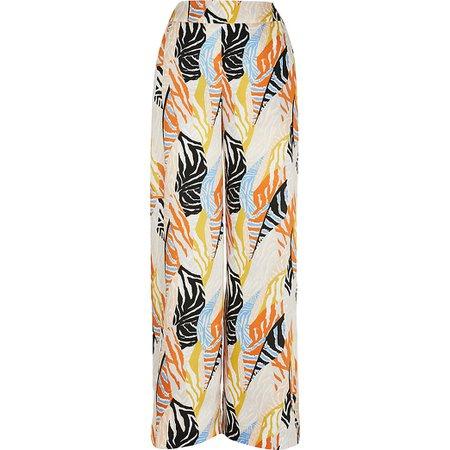 Orange print wide leg trouser | River Island