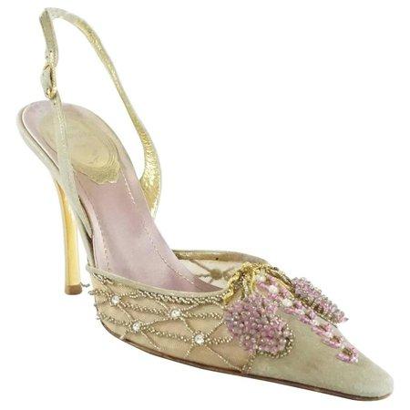 Rene Caovilla Gold and Pink Beaded Heels - 35.5 at 1stdibs