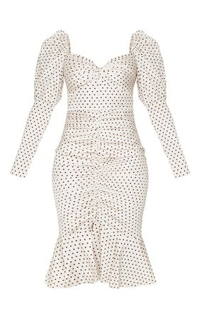 Nude Polka Dot Puff Sleeve Midi Dress | PrettyLittleThing USA