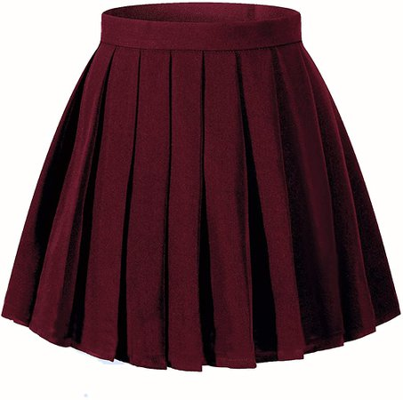Amazon.com: Beautifulfashionlife Women`s School Uniform High Waist Pleated Skirts Solid Color(2XL ,Wine Red): Clothing