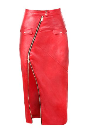 Clothing : Skirts : 'Ariella' Red Vegan Leather Zip Front Pencil Skirt