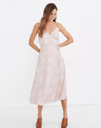 (Re)sourced Crepe Cami Wrap Dress in Pindot Blooms