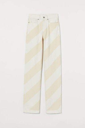 Straight Slim Jeans - Beige