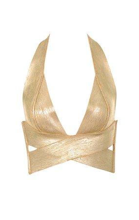 Clothing : Tops : 'Silvana' Gold Foil Criss Cross Bandage Top