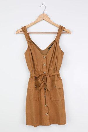 Button-Front Mini Dress - Tan Dress - Pocket Dress