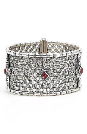 Konstantino Etched Silver & Rhodolite Garnet Cuff Bracelet | Nordstrom