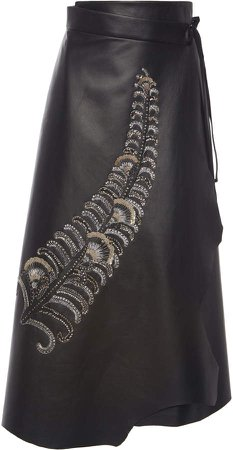 Sequined Tie-Waist Leather Wrap Skirt