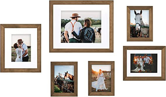 Amazon.com: Kate and Laurel Bordeaux Gallery Frame Wall Kit, Set of 6, Natural Rustic Brown, Chic Photo Frames for Wall: Furniture & Decor