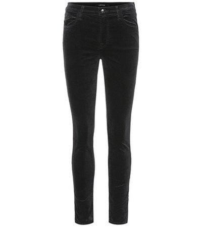 Maria velvet high-rise skinny jeans