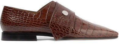 Daxton Croc-effect Leather Loafers - Brown