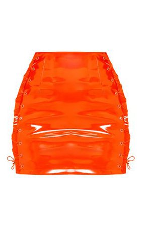 Neon Orange Vinyl Lace Up Mini Skirt | PrettyLittleThing USA