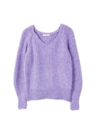 Purple V-Neck Knit Sweater