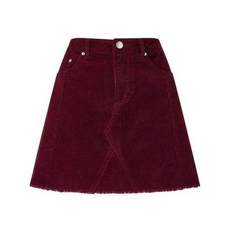 Burgundy Corduroy A-Line Skirt