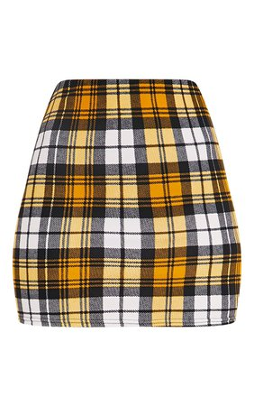 Yellow Check Print Mini Skirt | Skirts | PrettyLittleThing