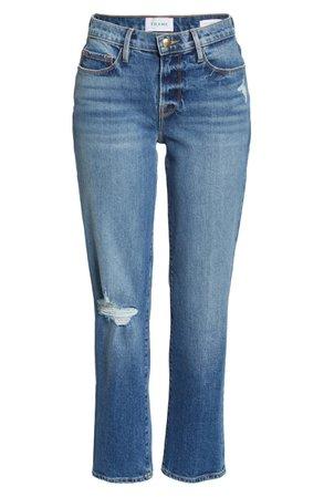 FRAME Le Nouveau Distressed Crop Straight Leg Jeans (Hagen Rips) | Nordstrom