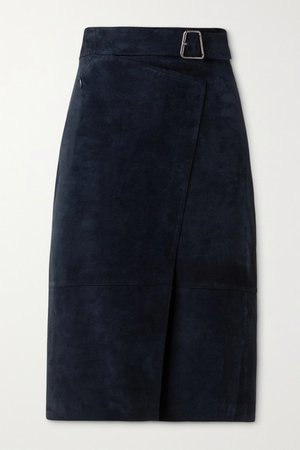 Suede Belted Wrap-effect Skirt - Navy