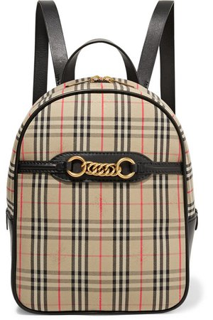 Burberry | Embellished leather and checked cotton-drill backpack | NET-A-PORTER.COM