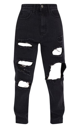 Plt Washed Black Extreme Distressed Slim Fit M   PrettyLittleThing