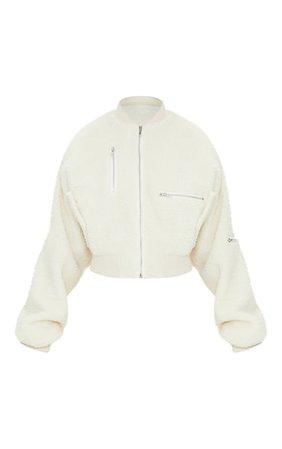 Cream Borg Zip Detail Bomber Jacket | PrettyLittleThing