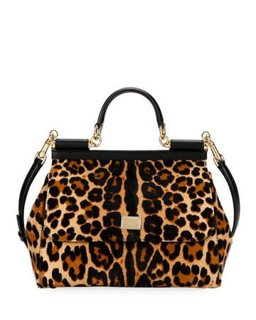 Dolce & Gabbana Sicily Large Leopard Top-Handle Bag