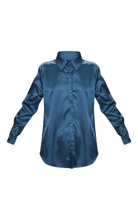 Teal Satin Button Front Shirt   Tops   PrettyLittleThing USA