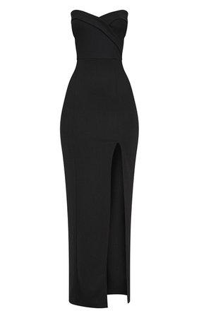 Emerald Green Bandeau Folded Detail Extreme Split Maxi Dress | PrettyLittleThing USA