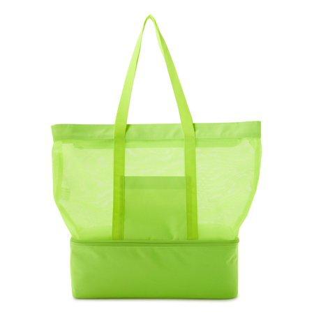 No Boundaries - No Boundaries Mesh Zip Tote Bag with Insulated Cooler Compartment - Walmart.com green
