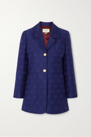 Blue Appliquéd wool and silk-blend jacquard blazer | Gucci | NET-A-PORTER