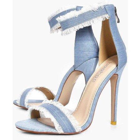 Boohoo Laila Frayed Edge Denim Two Part Heels ($44)
