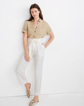 Linen-Blend Paperbag Pants