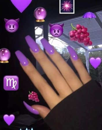 Pretty Purple Long Coffin Nails false | Etsy